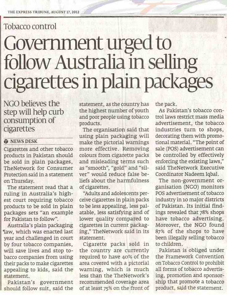 pakistan should take efforts to control tobacco consumption Learn what the family smoking prevention and tobacco control act requires, restricts, funds, bans and allows.